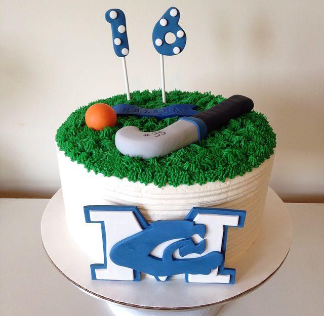Field Hockey Cake With High School Logo By Kristy Dax Cakesbykristy Com Hockey Cakes Hockey Birthday Cake Hockey Birthday