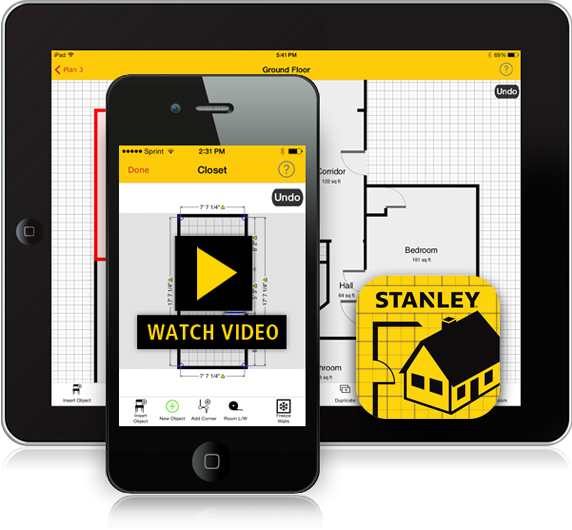 The stanley floor plan app on a smartphone and tablet for Room planner app