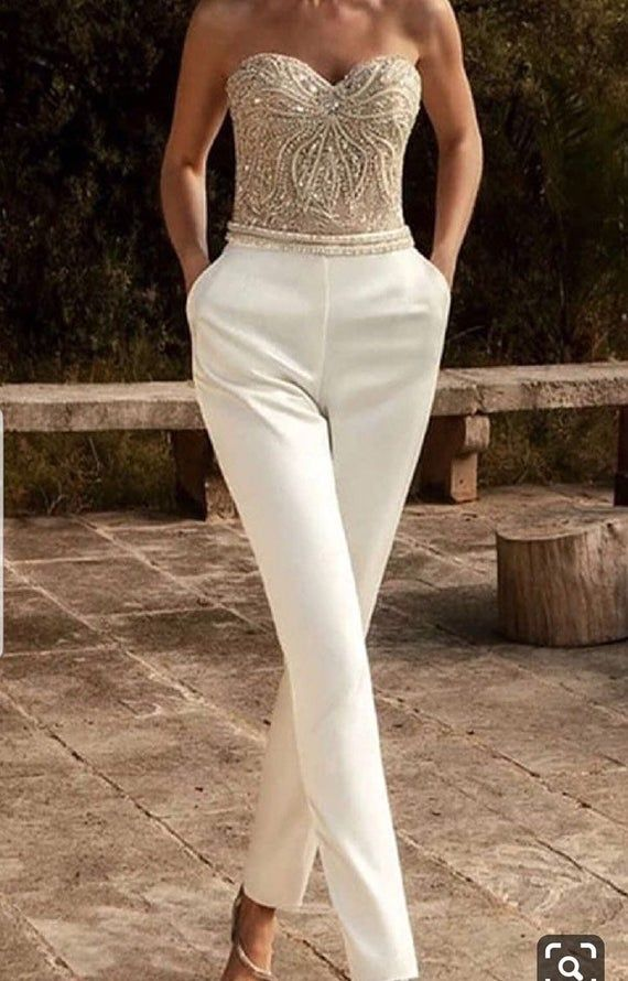 Ivory bridal jumpsuit with overall jacket,women's