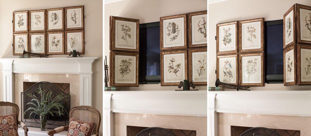 10 Tips For Decorating Around Your Mounted Tv Hidden Tv Hide Tv Over Fireplace Tv Over Fireplace