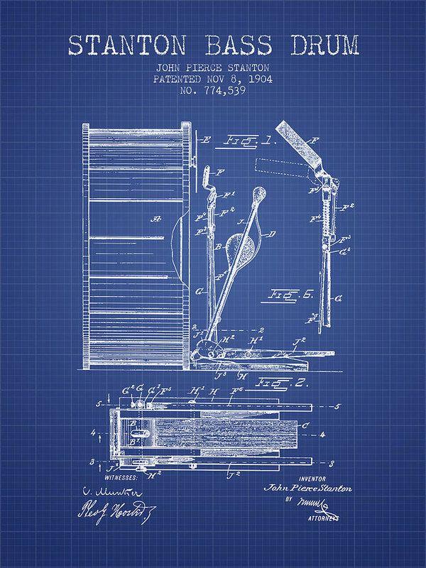Stanton Bass Drum Patent From 1904 - Blueprint Art Print by Aged - best of golf blueprint art