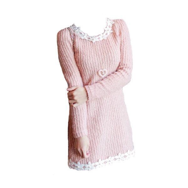 Appliqué Sweater Dress edited by Chomik ❤ liked on Polyvore featuring doll parts, dolls, dresses, doll clothes and body part
