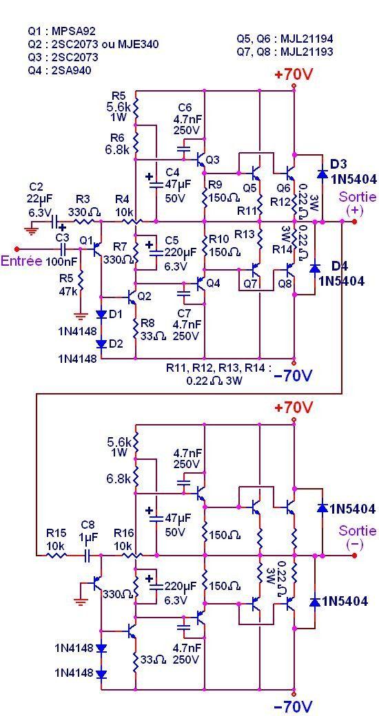 ampli audio 500w a 1000w circuit imprime typon 2   worky   Diy amplifier, Audio amplifier