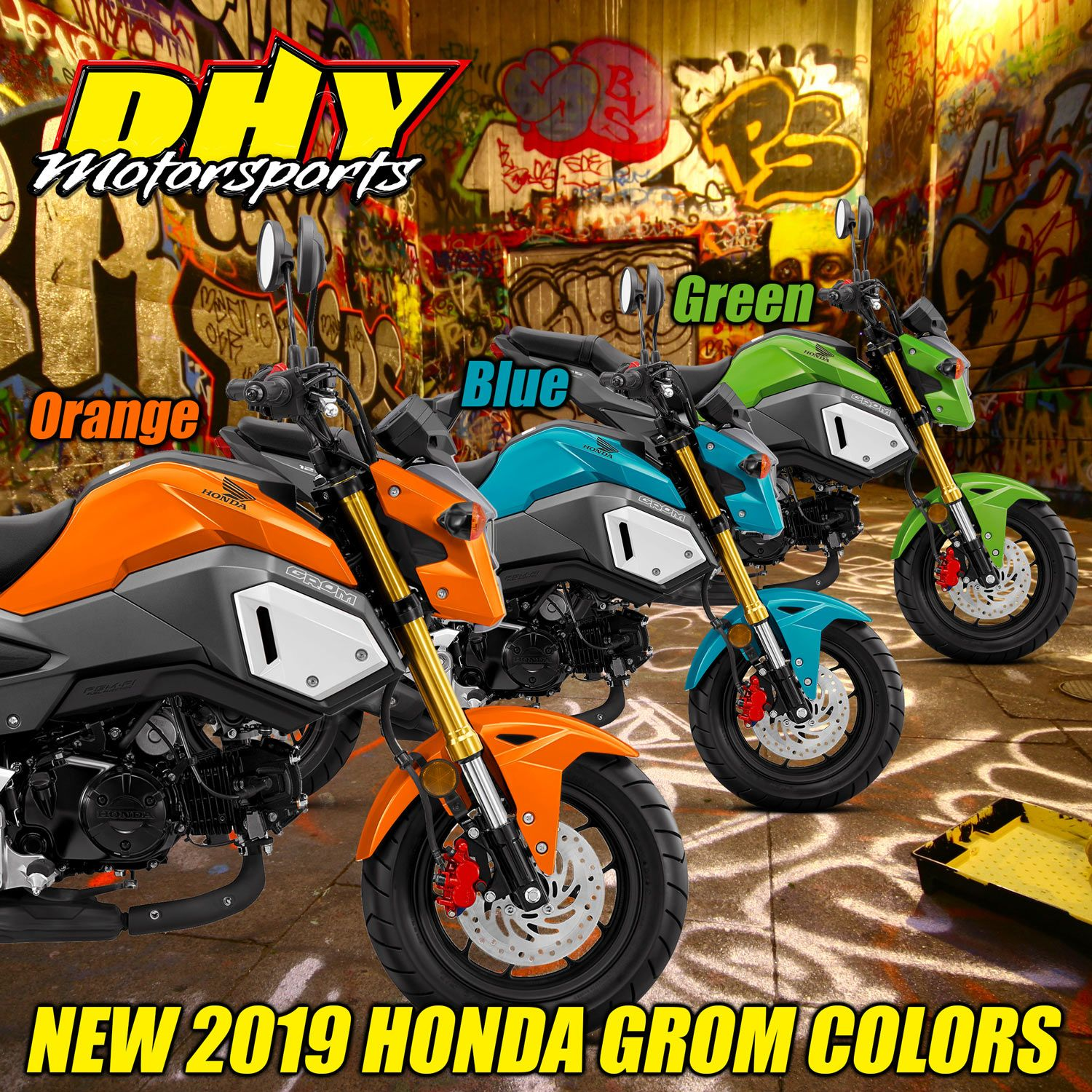 2019 Brings 3 Exciting New Colors To The Honda Grom Family Orange Blue And Green Are Now Available At Dhymotorsports Dhygromnati Honda Grom Honda Color