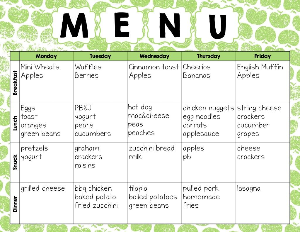 Make Easy Meal Plans With This Free Weekly Template Easy Meal Plans Meal Plan For Toddlers Daycare Menu Weekly menu template for daycare