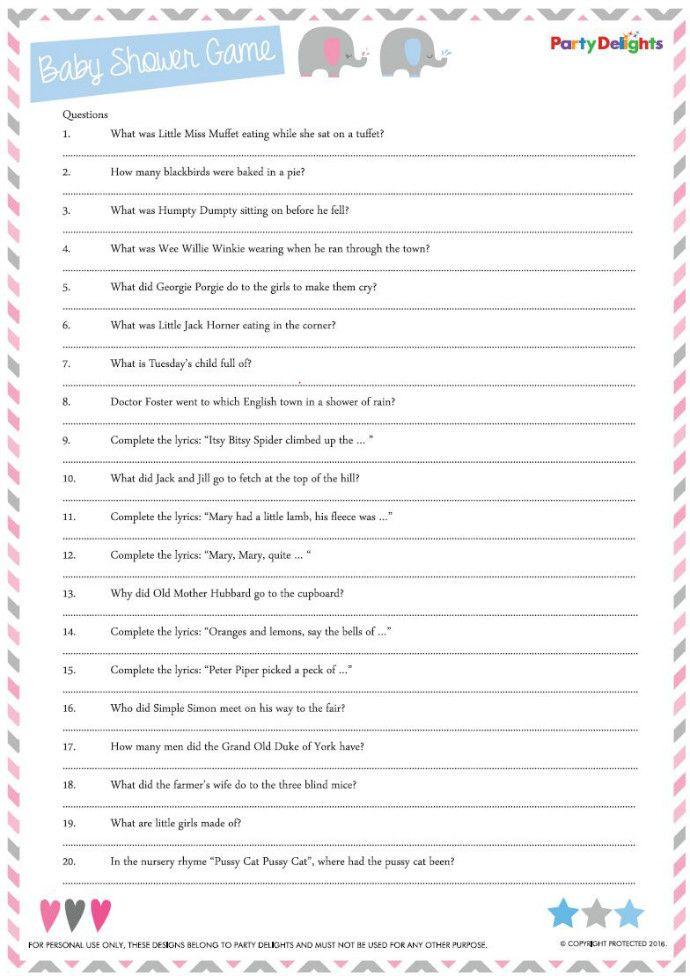 Free Printable Nursery Rhyme Quiz Baby Shower