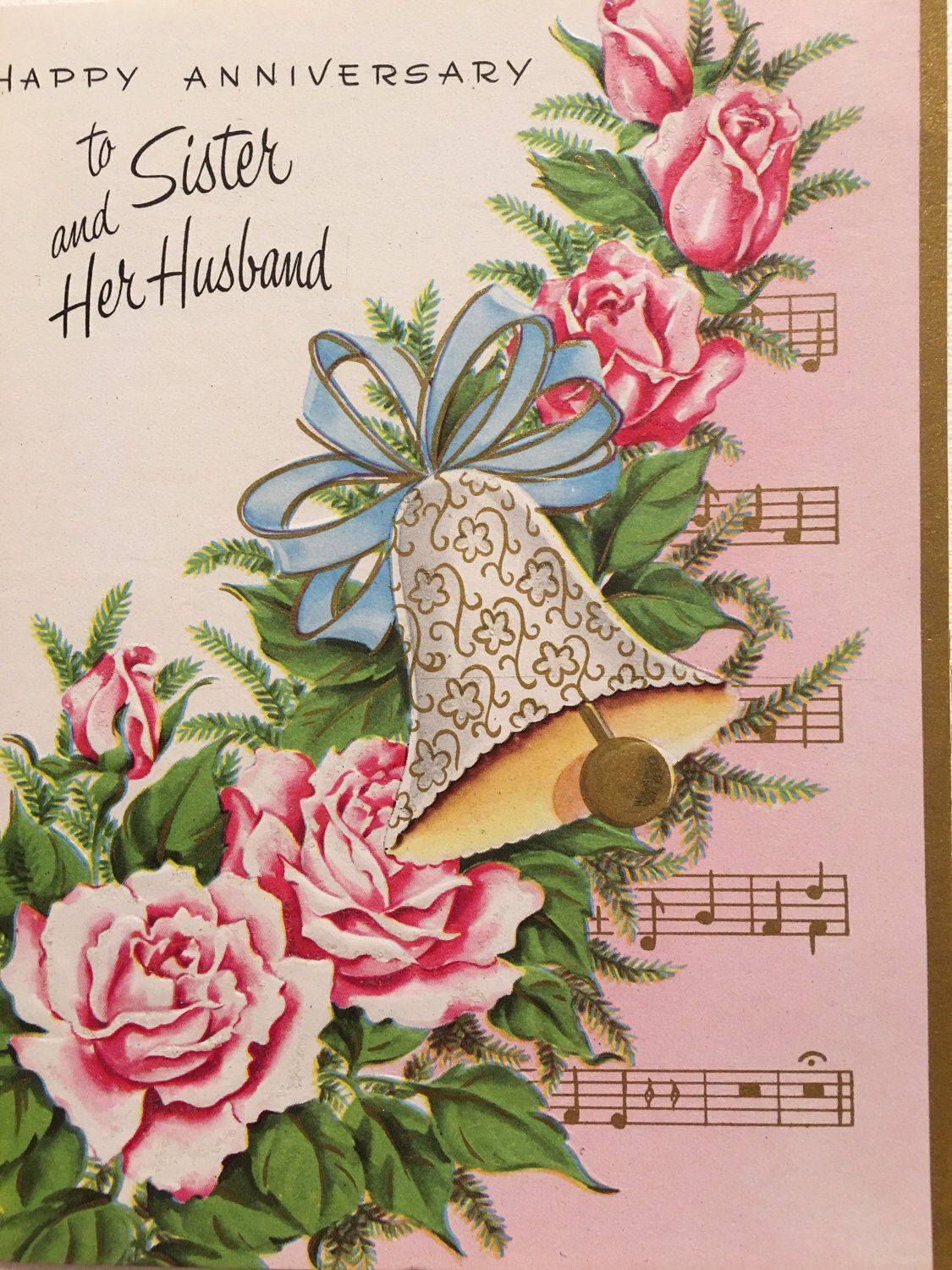 Vintage Anniversary Card Sister And Her Husband Glitter Pink