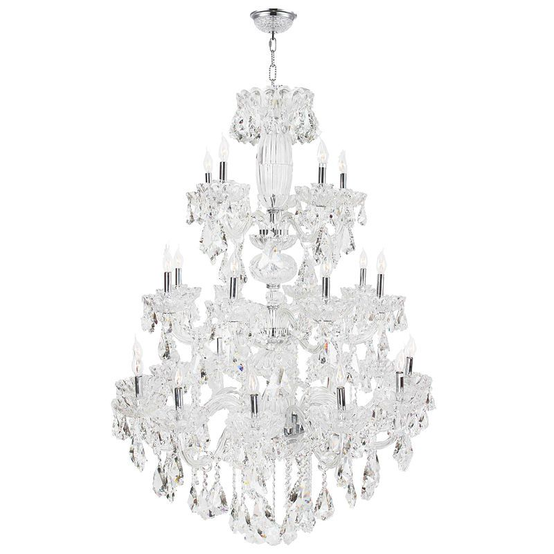Olde World Collection 23 Light 3 Tier Chrome Finish Crystal Chandelier Polished Chrome Crystal Candles Crystal Chandelier
