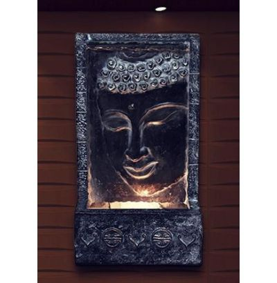28 Tall Buddha Wall Fountain w Light at Garden and Pond Depot