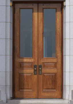 White Oak Custom 3 Panel Solid Wood Doors Traditional Front