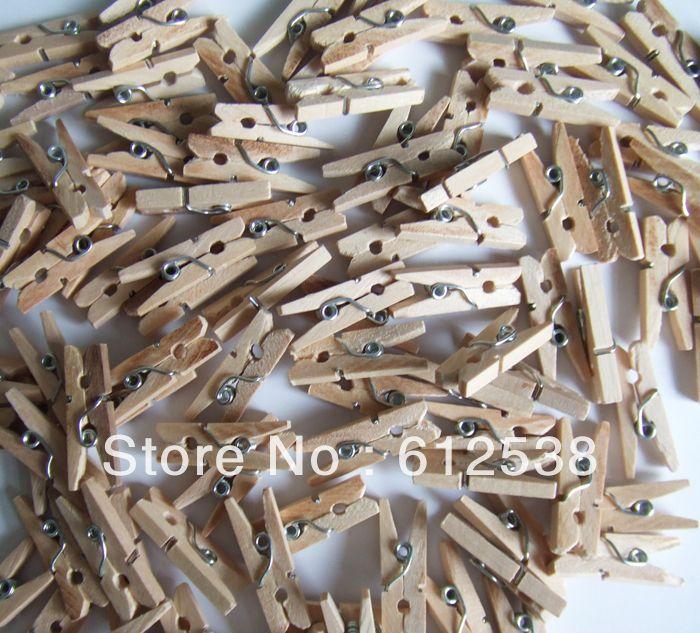 (Orden mínima 10 $) Envío libre 200pcs/lot Mini 24mm ropa de madera Foto Clips de madera clip-en Otros artículos para las fiestas de casa y jardín en Ali ...