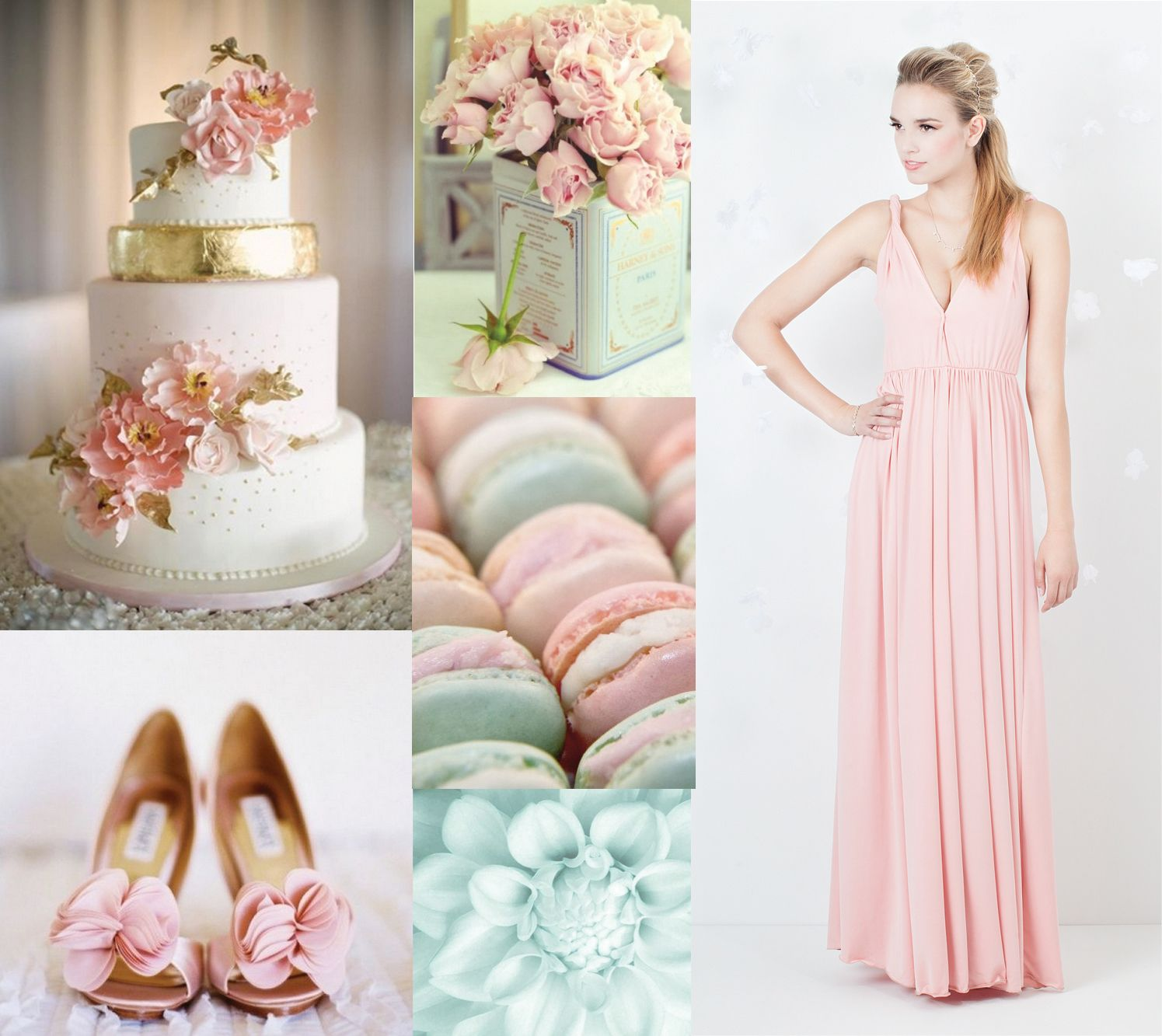 Mint + Coral V Neck Bridesmaid Dress In Coral Blush, By