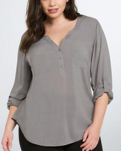 8c445ce3491 Plain gray V neck chiffon blouse for women plus size