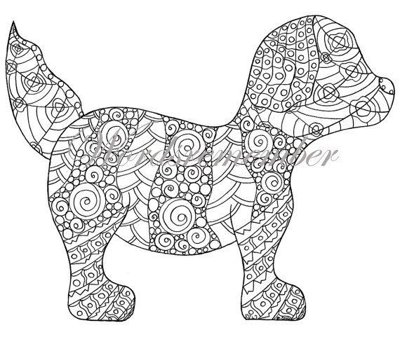 Adult Coloring Page, Puppy Coloring Page, Colouring Page