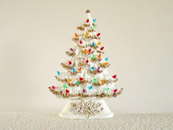 CYBER MONDAY SALE Ceramic light-up Tree White by prancinggoat