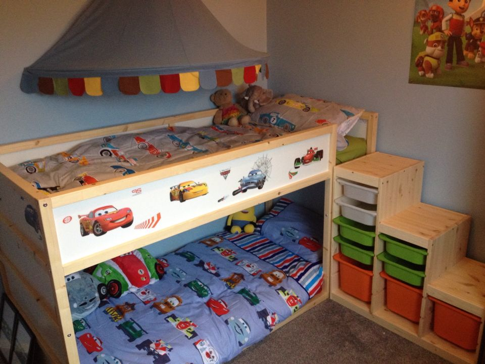 Ikea kura bunk bed hack for two disney cars ikea trofast for Ikea bed hack storage