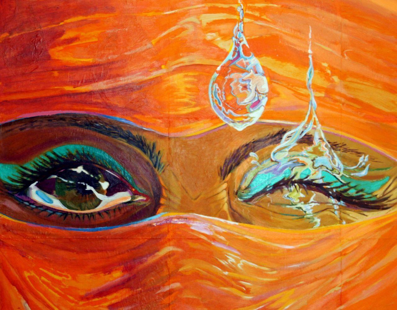 Orange Wet Eye.110cm x 136cm