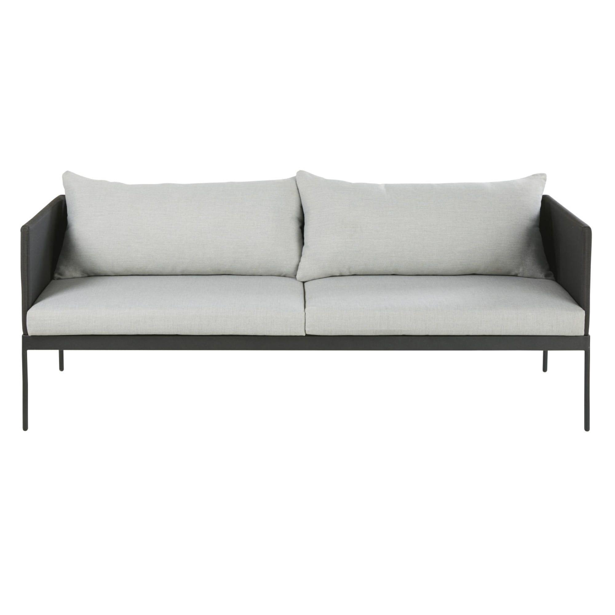 Gartensofa Mit 2 3 Sitzen Aus Schwarzem Laminiertem Segeltuch Und Grauem Segeltuch Avola Gartensofa Sofa Sitzen