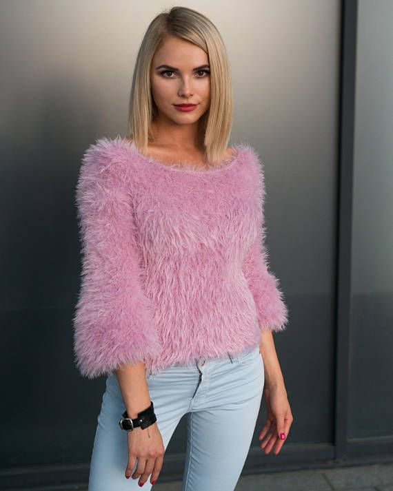 Pink sweater, fluffy sweater, knitted sweater, made in hand ...