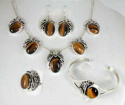 Navajo tiger eye bracelet and pendant set sterling silver peterson navajo tiger eye bracelet and pendant set sterling silver peterson johnson mozeypictures Images