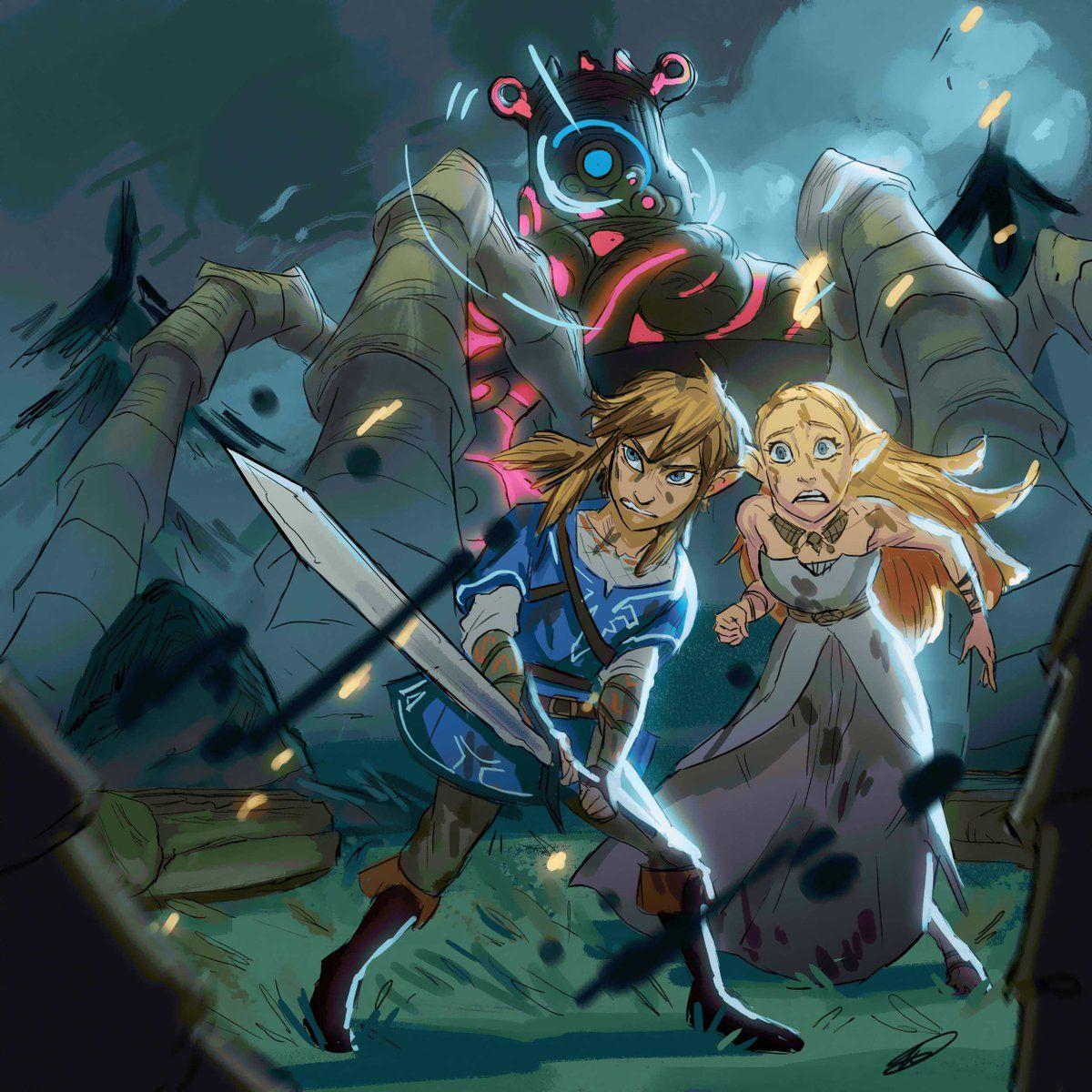Legend Of Zelda Breath Of The Wild Art Link And Princess Zelda Vs Guardian Kiravera8 Twitter Legend Of Zelda Legend Of Zelda Breath Zelda Art