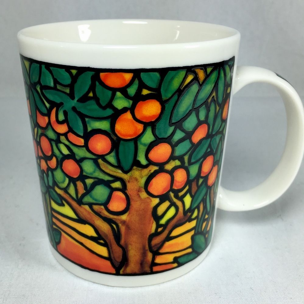 Chaleur L. Tiffany Inspired Stained Glass Mug Cup Orange