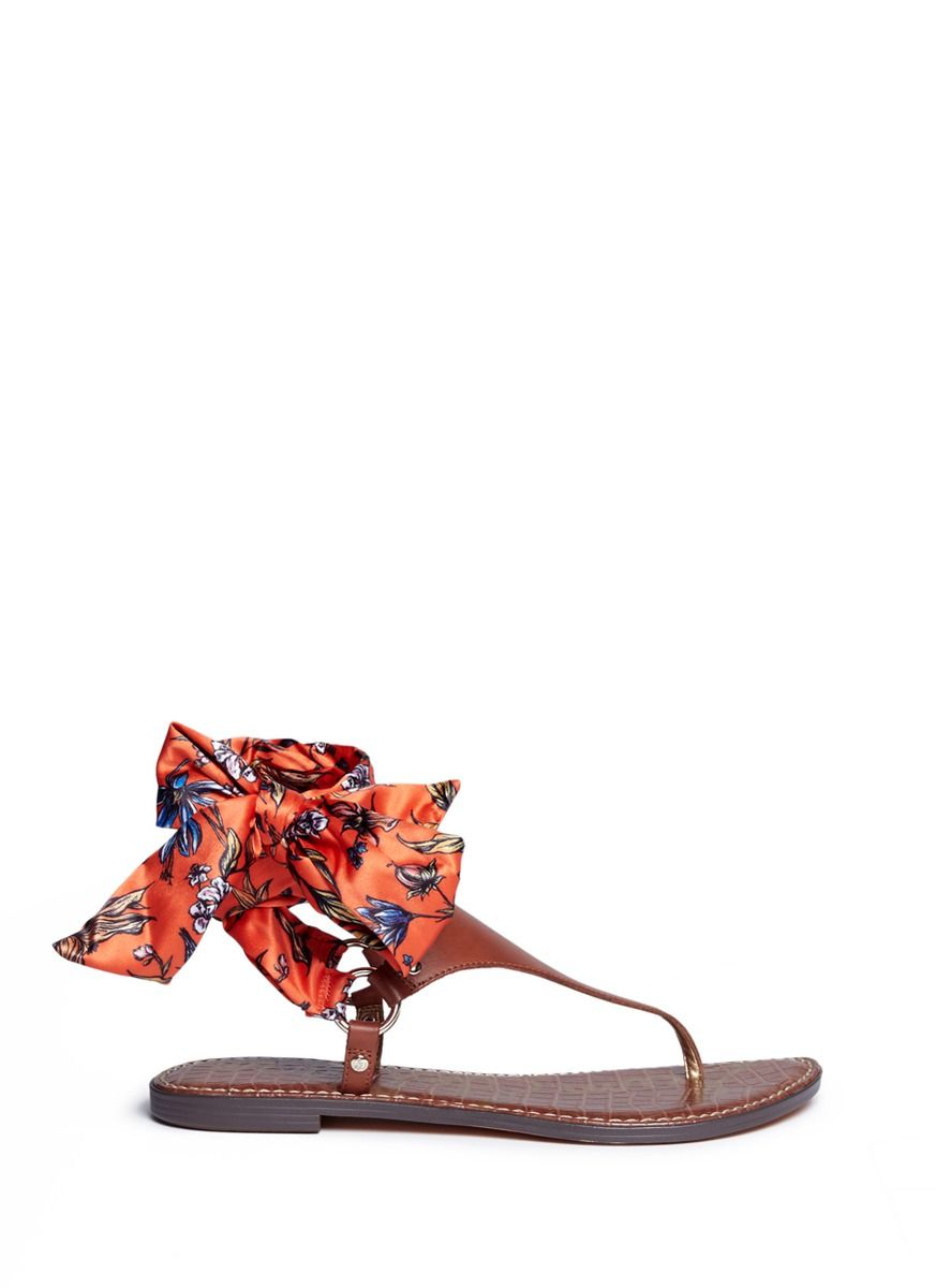 7f9c00882 SAM EDELMAN  Giliana  Floral Print Satin Tie Leather Thong Sandals.   samedelman  shoes  sandals