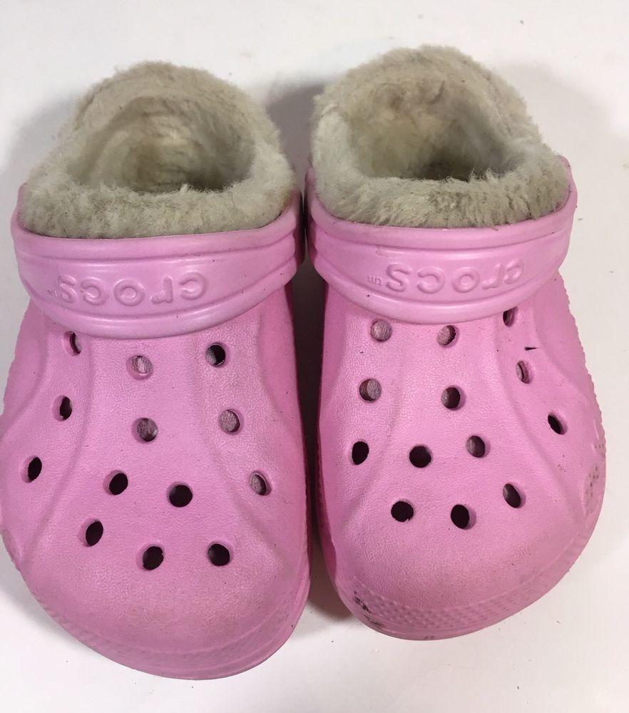 Children's Crocs Pink Lined Clogs US