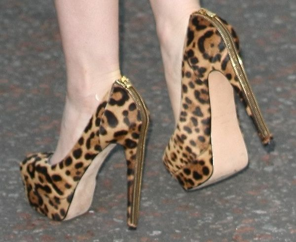 5164945c20 Lily Collins in Brian Atwood's India leopard-print pumps | Brian ...