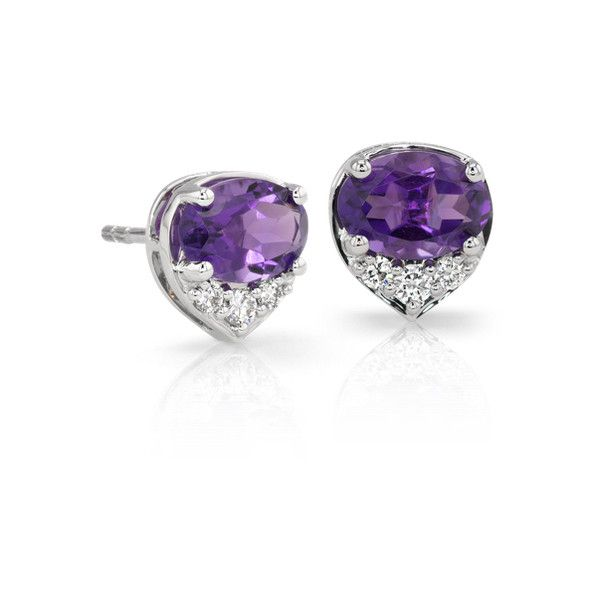Blue Nile Oval Amethyst And Diamond Stud Earrings 32 000 Inr Liked On Polyvore Featuring Jewelry Purple