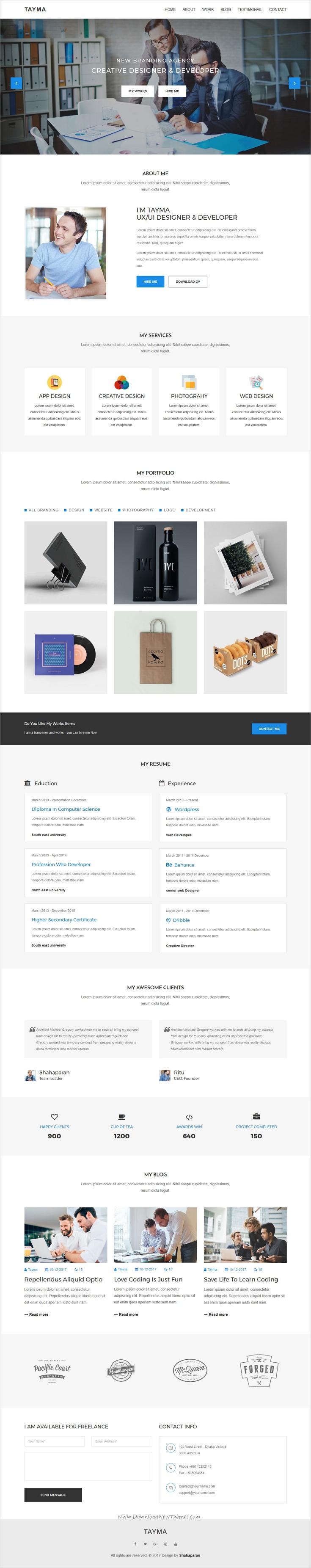Tayma Resume  Minimal Portfolio Responsive Html Template