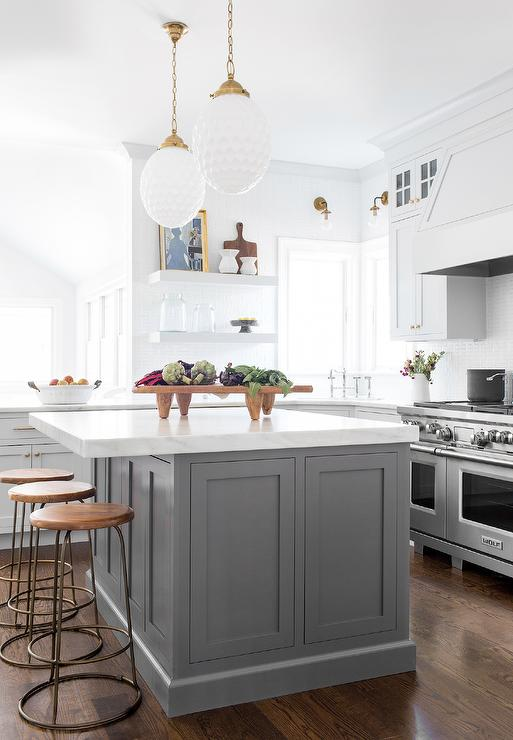 Backless Wood And Brass Stools At Dark Gray Island Transitional Kitchen Curved Kitchen Grey Kitchen Island Transitional Kitchen