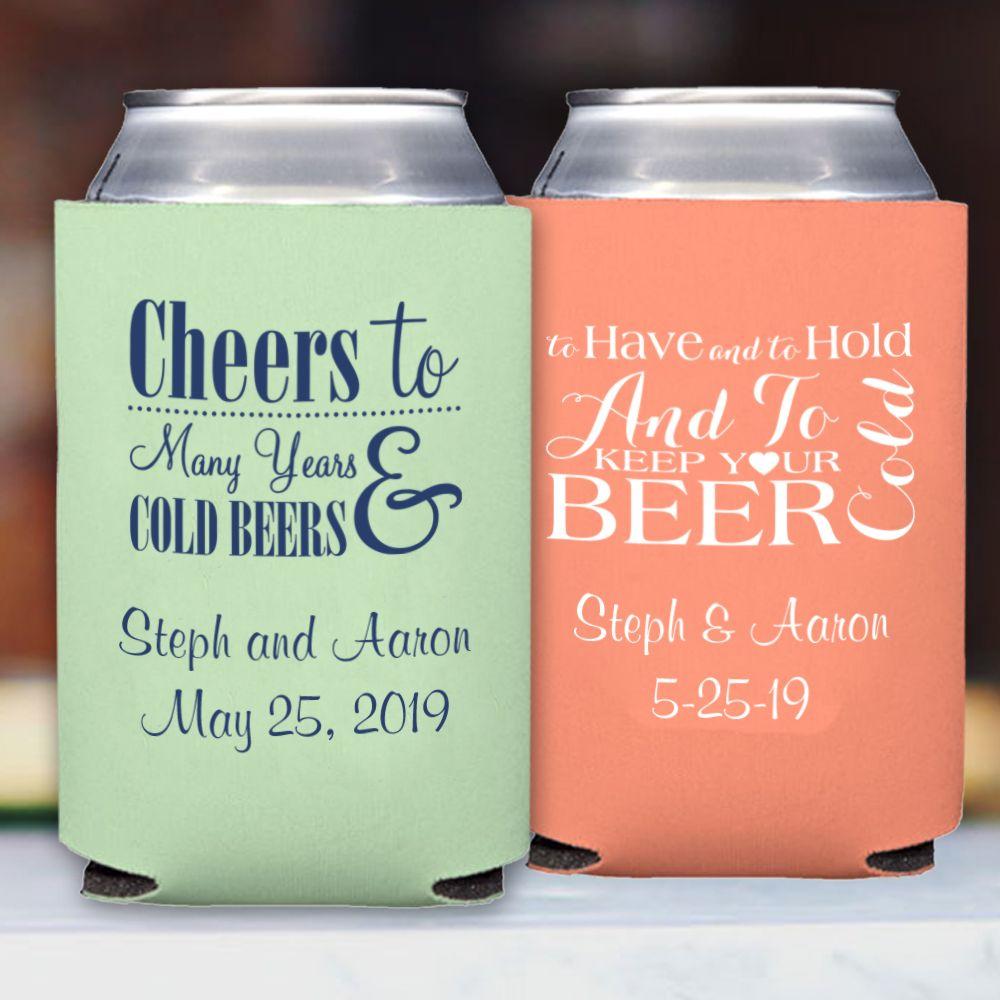 Personalized Premium Neoprene Wedding Can Coolers Koozie Wedding Favors Personalized Wedding Koozies Beer Koozie Wedding