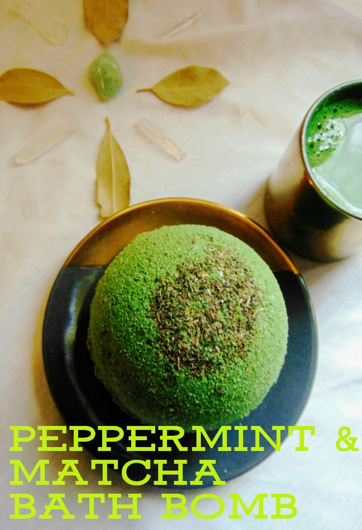 peppermint & matcha essential oil bath bomb, green tea bath bomb