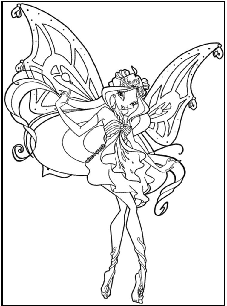 Beautiful Flora Winx Club coloring picture for kids | Winx Club ...