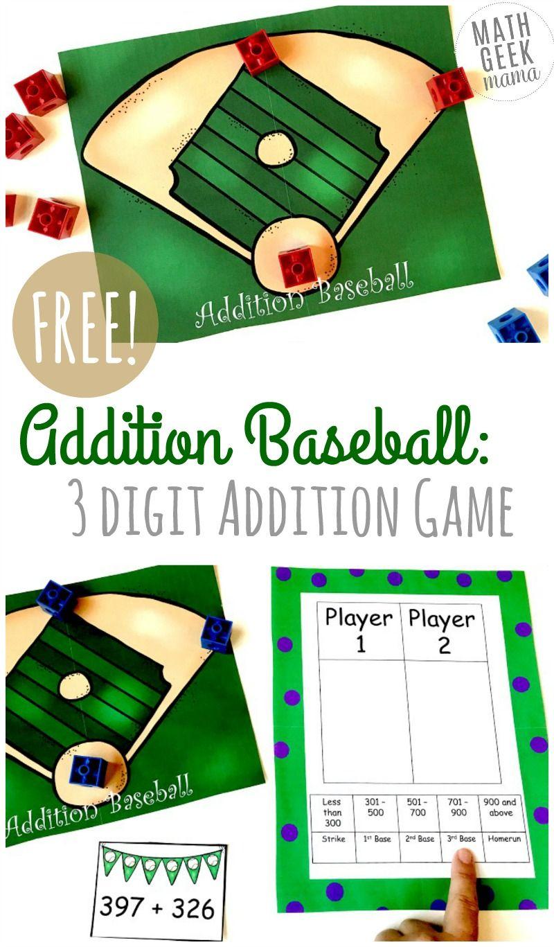 Free Baseball Addition 3 Digit Addition Game Addition Games Math Addition Games Mental Math Games Digit plus digit addition game