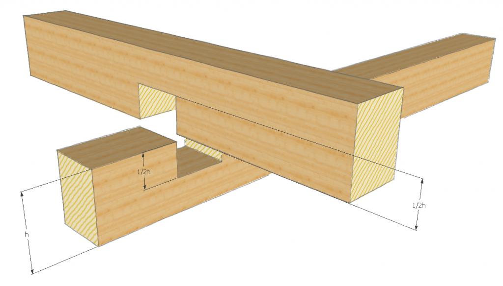 Balken verbinden Kreuzung mit einer Überblattung Balken