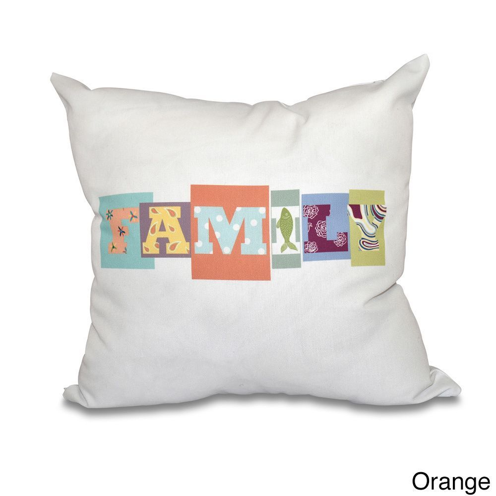 E by Design Family Fun Word Print 18-inch Throw Pillow