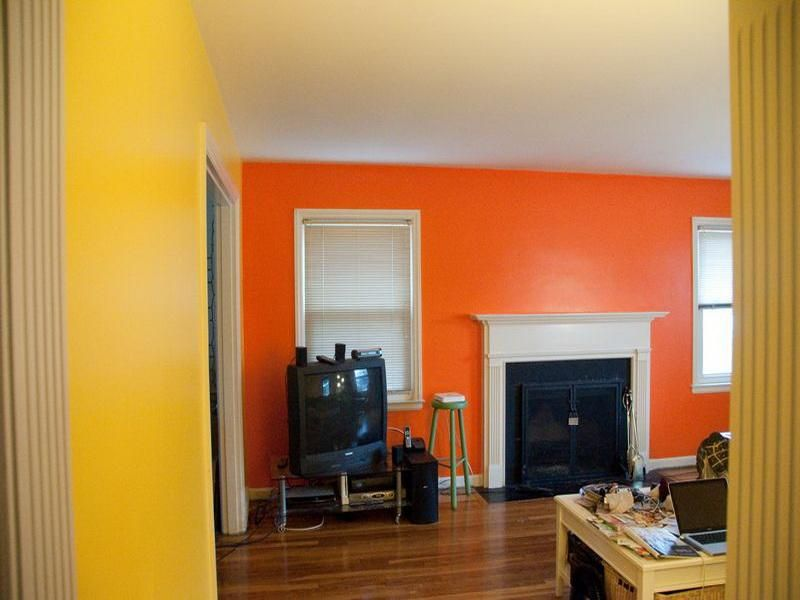 An awesome combination yellow orange paint colors for Paints for interior walls