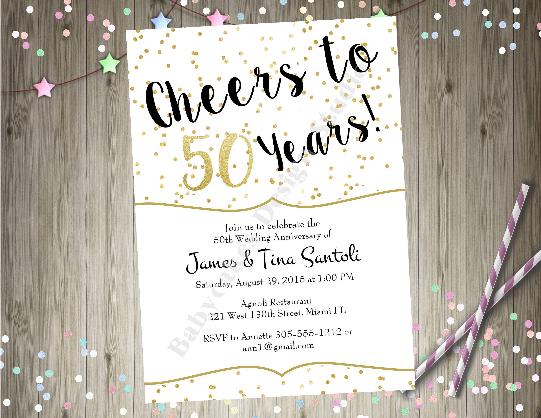 50th Wedding Anniversary Invitation Invite Cheers To 50 Years Birthday Black Gold Printable