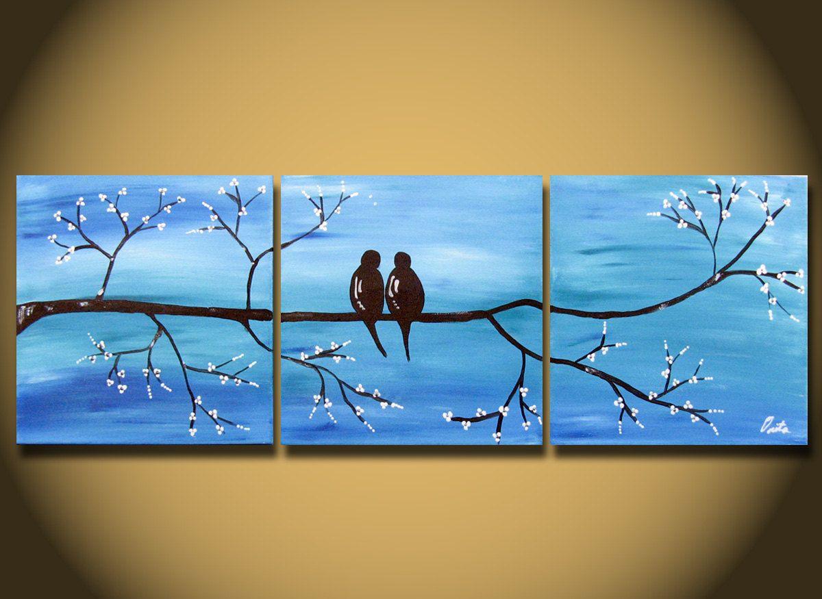 Love Birds HUGE 36 x 12 Acrylic painting canvas gallery by OritArt ...