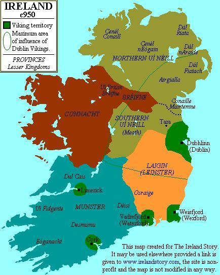 Map Of Ireland 9th Century.The Vikings Eventually Settled Down In The Lands They Had