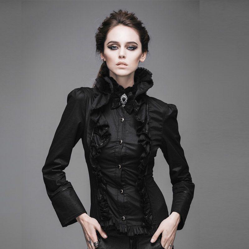 Devil Fashion Gothic Big Lotus Leaf Collar Dress Shirts for Women Steam Punk Lotus Ruffle Shirts Women Stand Collar Blouses