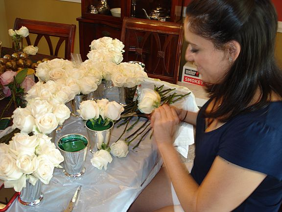 7 White Roses In Julep Plastic Julep Cups Amazing