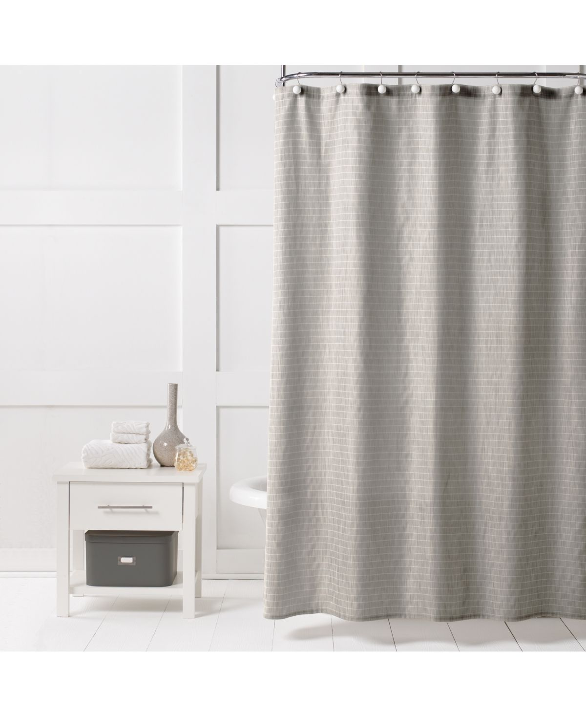 Saturday Knight Neutral Textured Stripe 70 X 72 Shower Curtain