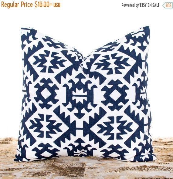 SALE ENDS SOON Aztec Throw Pillows Navy Aztec Throw di LilyPillow