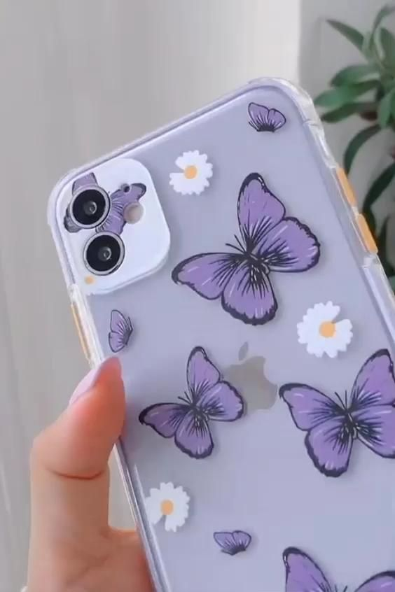 Cute Purple Butterfly Clear Phone Cover for iPhone
