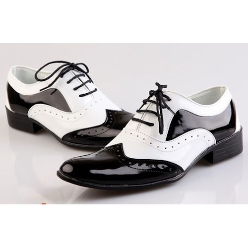 Black and White Lace Up Wedding Prom Dress Brogue Shoes Men SKU-1100218
