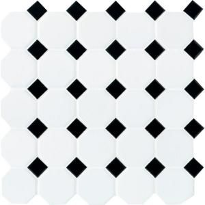 Daltile Octagon And Dot Matte White With Black Dot 12 In X 12 In