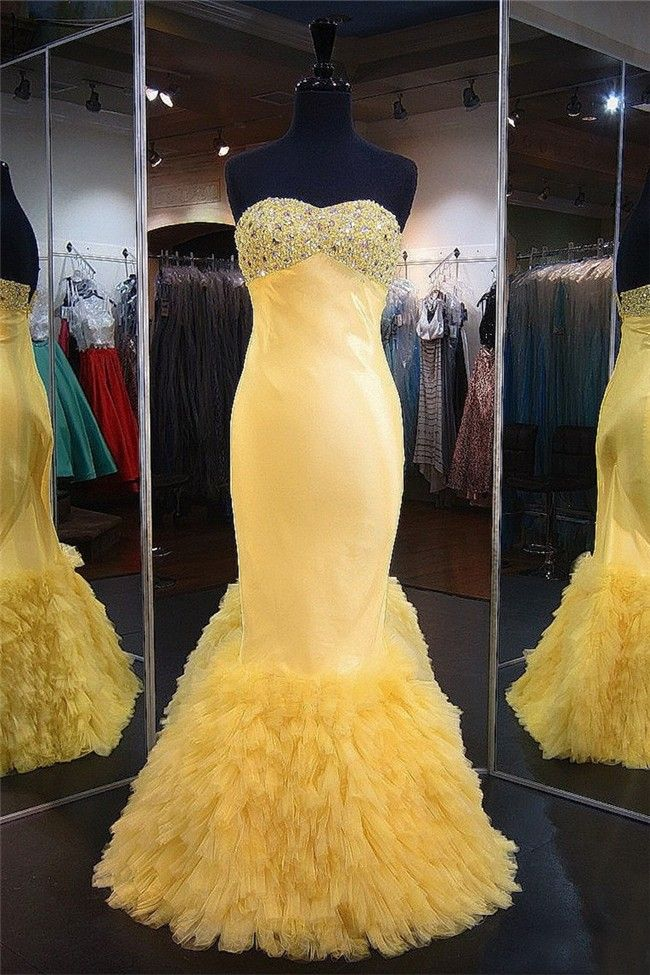 92a9835cb7fb6 Mermaid Sweetheart Yellow Satin Tulle Ruffle Prom Dress | Special ...